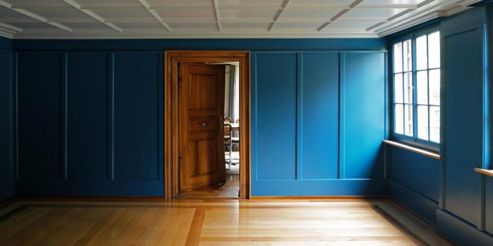 Lukas Imhof Architektur, Altes Pfarrhaus Kesswil, Blaues Zimmer